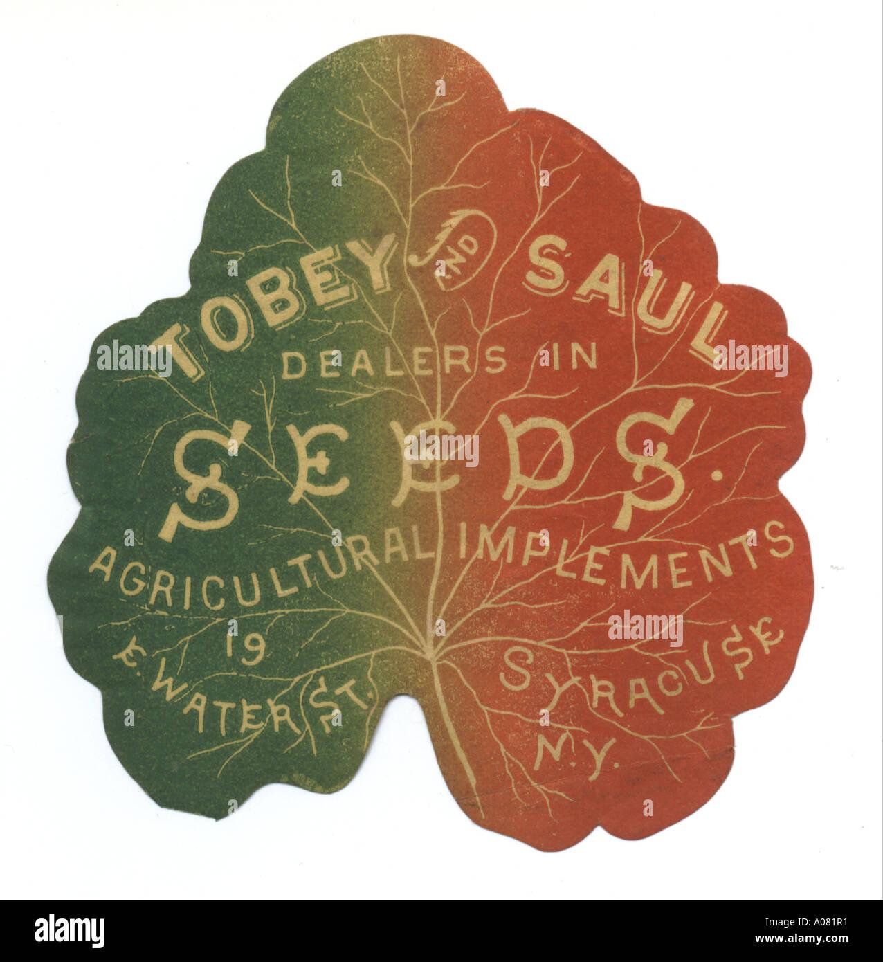 Tobey & Saul, seed merchants, trade card circa 1880 - Stock Image
