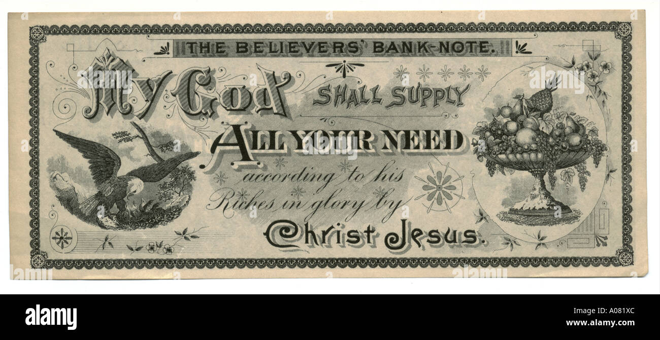 The Believers' Bank-note circa 1875 - Stock Image