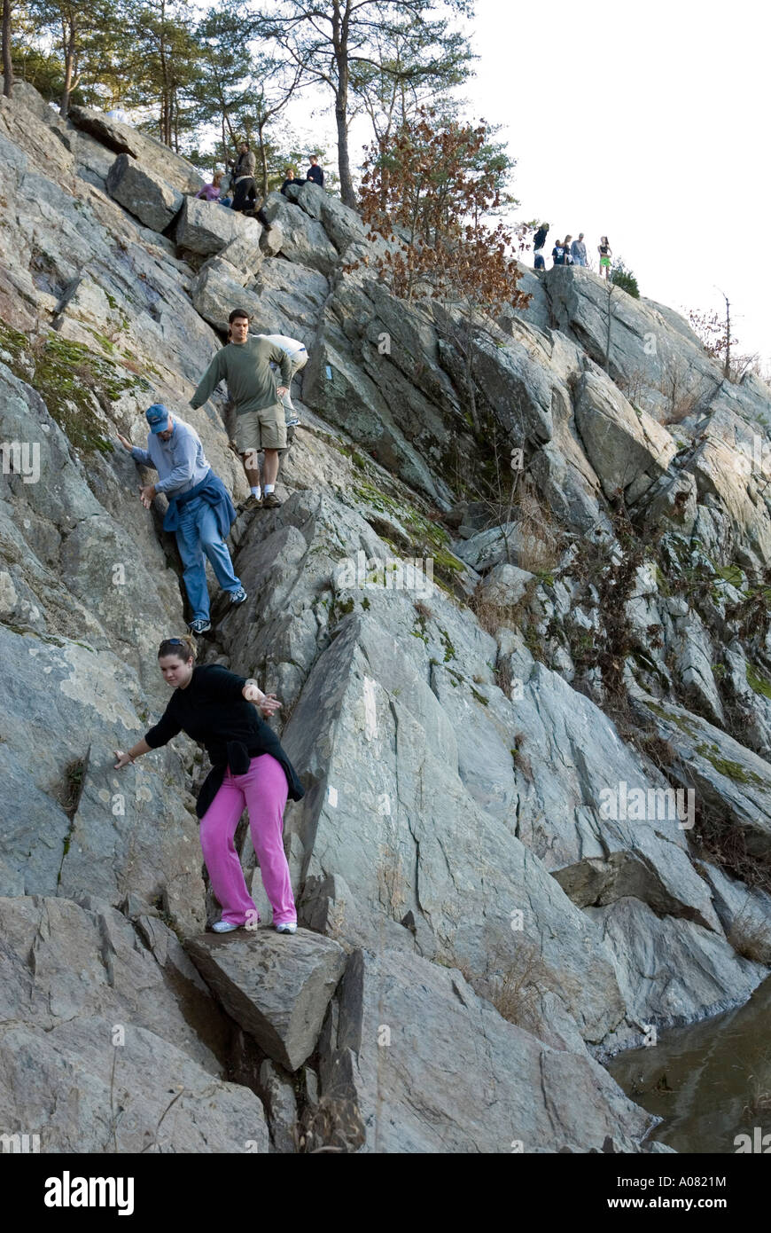 Visitors On The Billy Goat Trail Great Falls Potomac River Chesapeake Stock Photo 9910447 Alamy