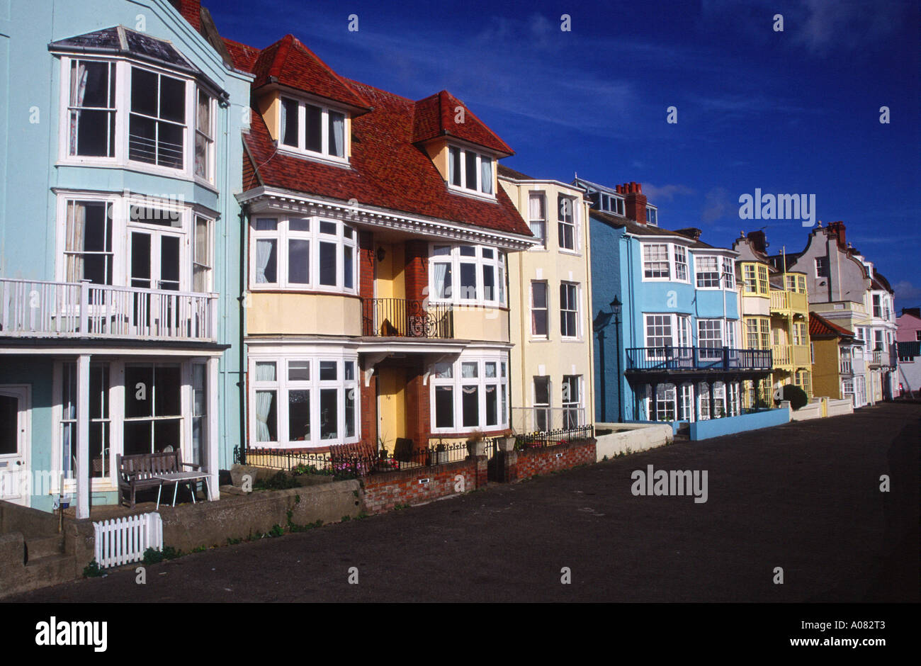 Buildings on the seafront promenade Aldeburgh Suffolk England - Stock Image
