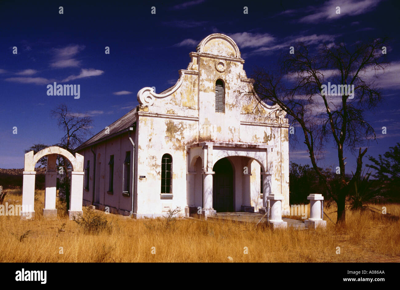 Namibia ghosttown Kalkfeld old mission church ruin fall into disrepair old ancient historic sight - Stock Image