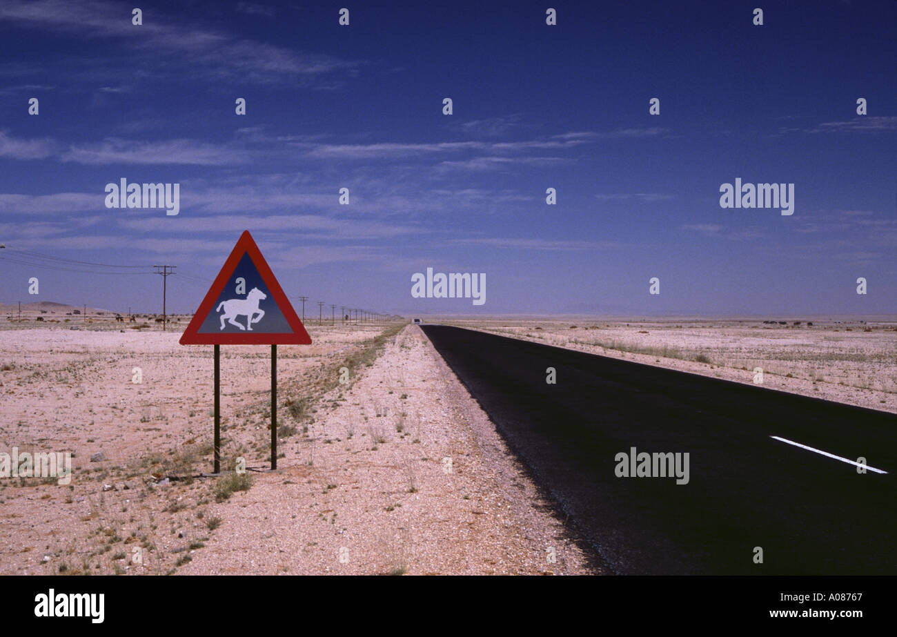 Street to Lüderitz Namibia sign horses straight endless never ending road tar surface - Stock Image