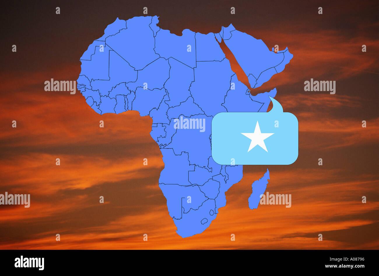 Africa map and flag of Somali Republic Somalia Stock Photo ...