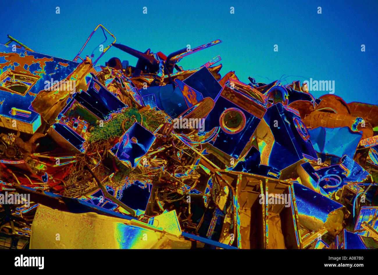 Effect Recycling reuse scrap metal rusty rubbish - Stock Image