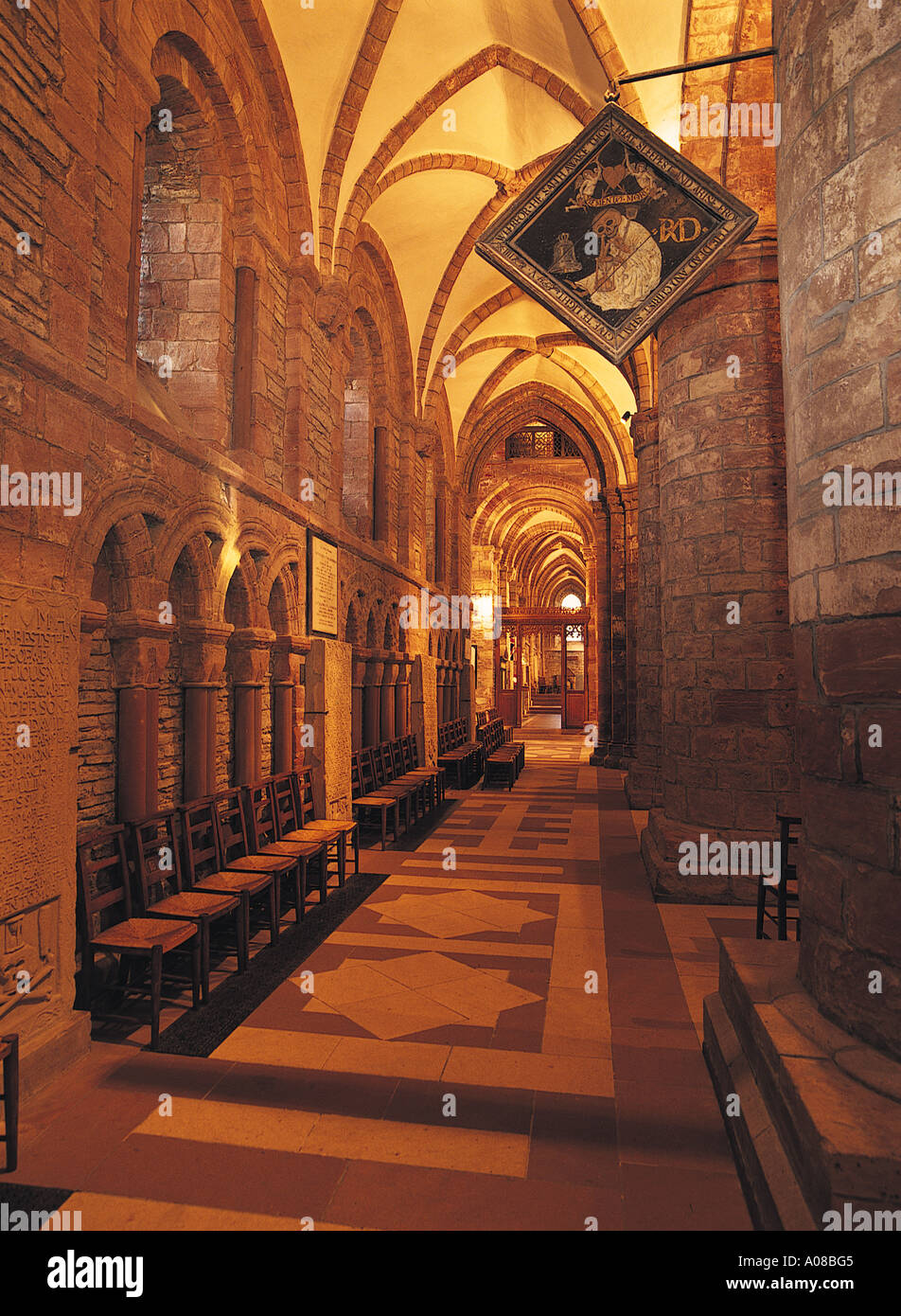 dh St Magnus Cathedral KIRKWALL ORKNEY Mort Bord devils board and North aisle Stock Photo