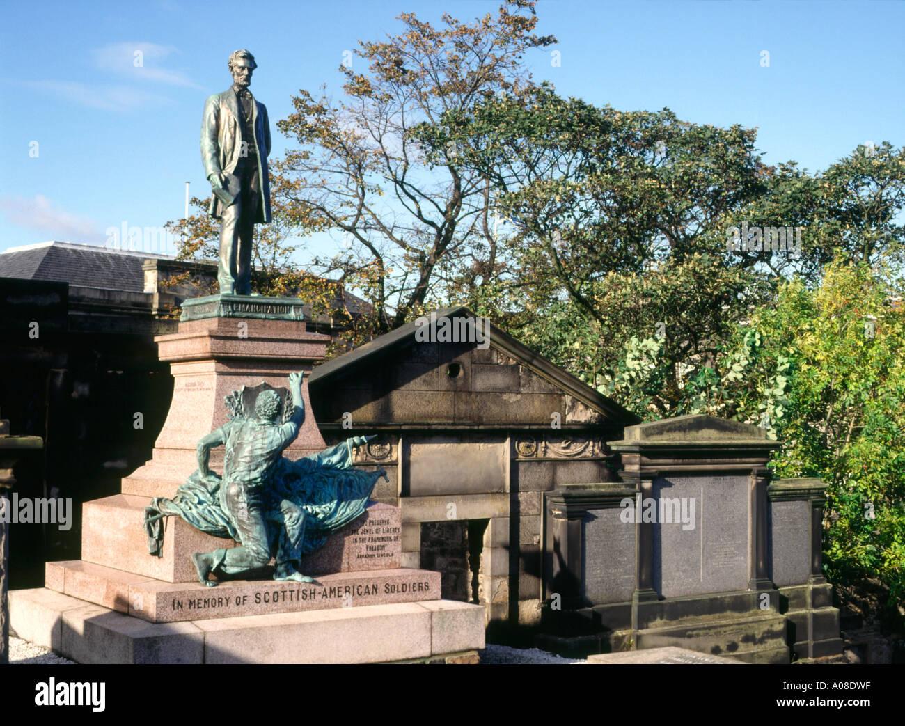 dh Scottish American monument CALTON CEMETERY EDINBURGH War soldiers memorial scotland graveyard old burial ground Stock Photo