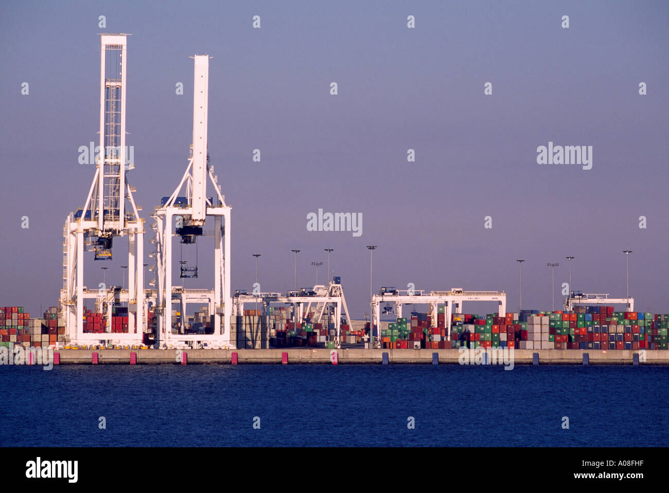 Container loading Facilities at Deltaport at Roberts Bank near Vancouver British Columbia Canada - Stock Image