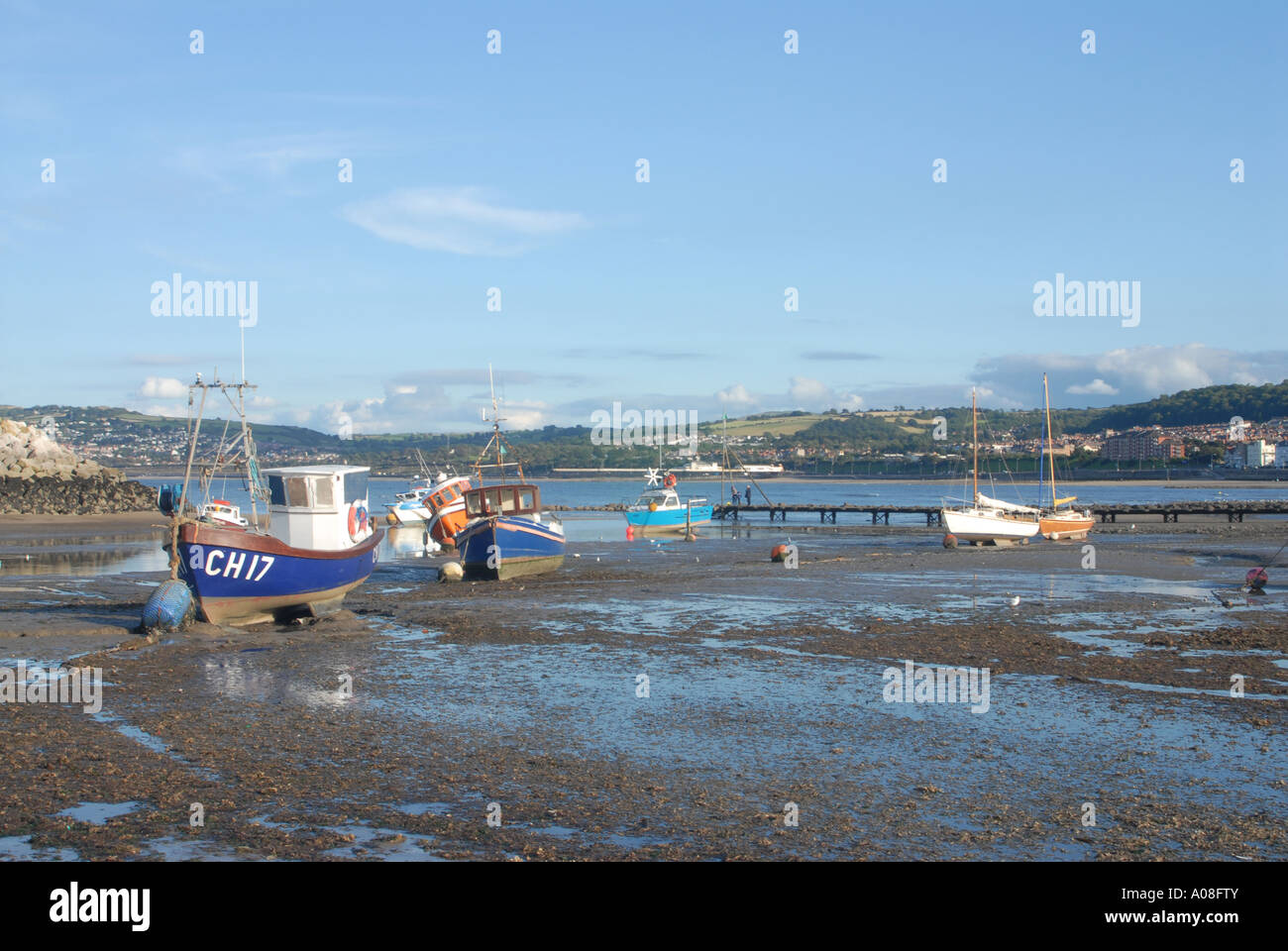Moored Boats Harbour Rhos on Sea North East Wales - Stock Image