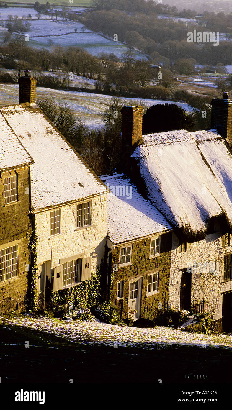 Shaftesbury Dorset in winter sunlight - Stock Image