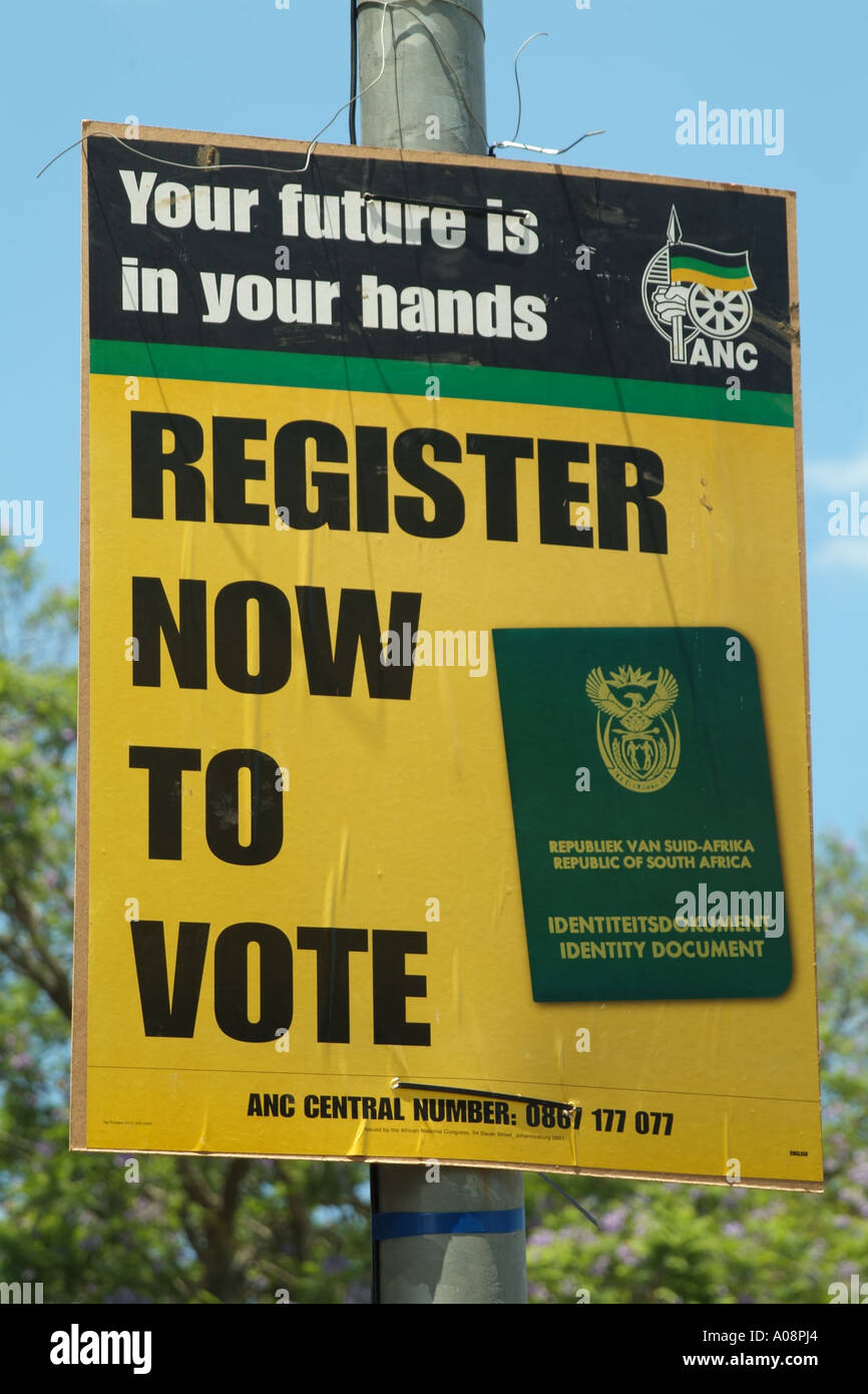 ANC register now to vote poster South Africa RSA elections - Stock Image