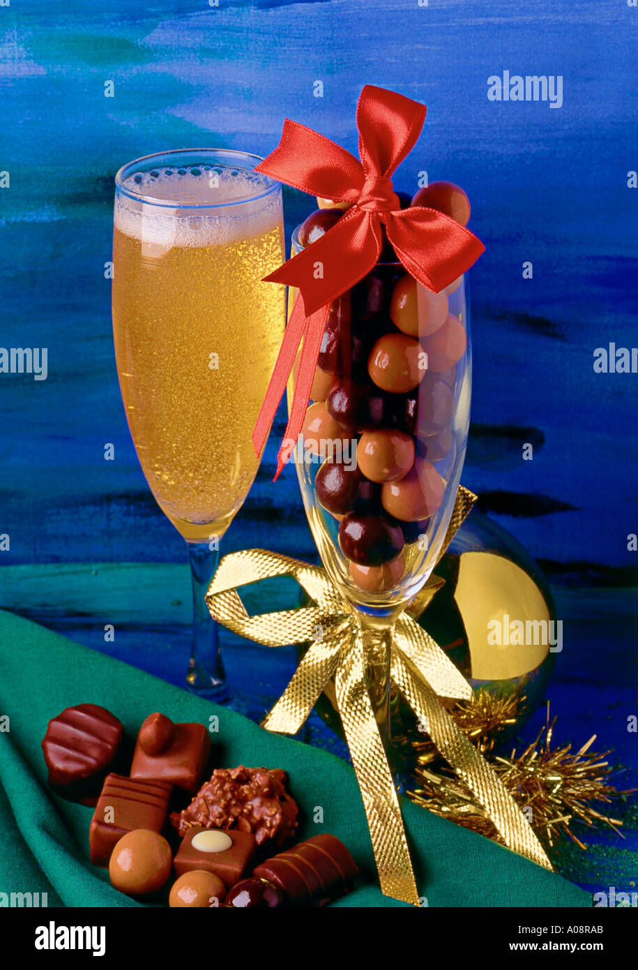 Chocolates  & Champaign with Christmas decorations - Stock Image