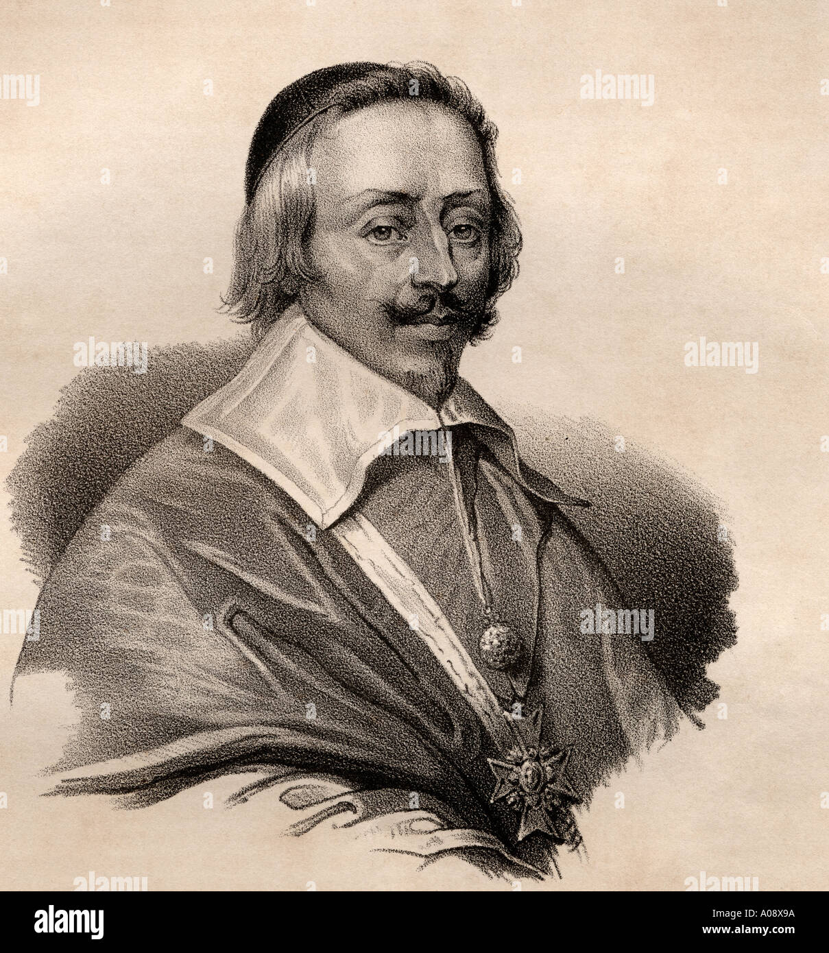 Cardinal Armand Jean du Plessis, 1st Duke of Richelieu and Fronsac, aka The Red Eminence, 1585 - 1642. French clergyman, nobleman, and statesman. - Stock Image