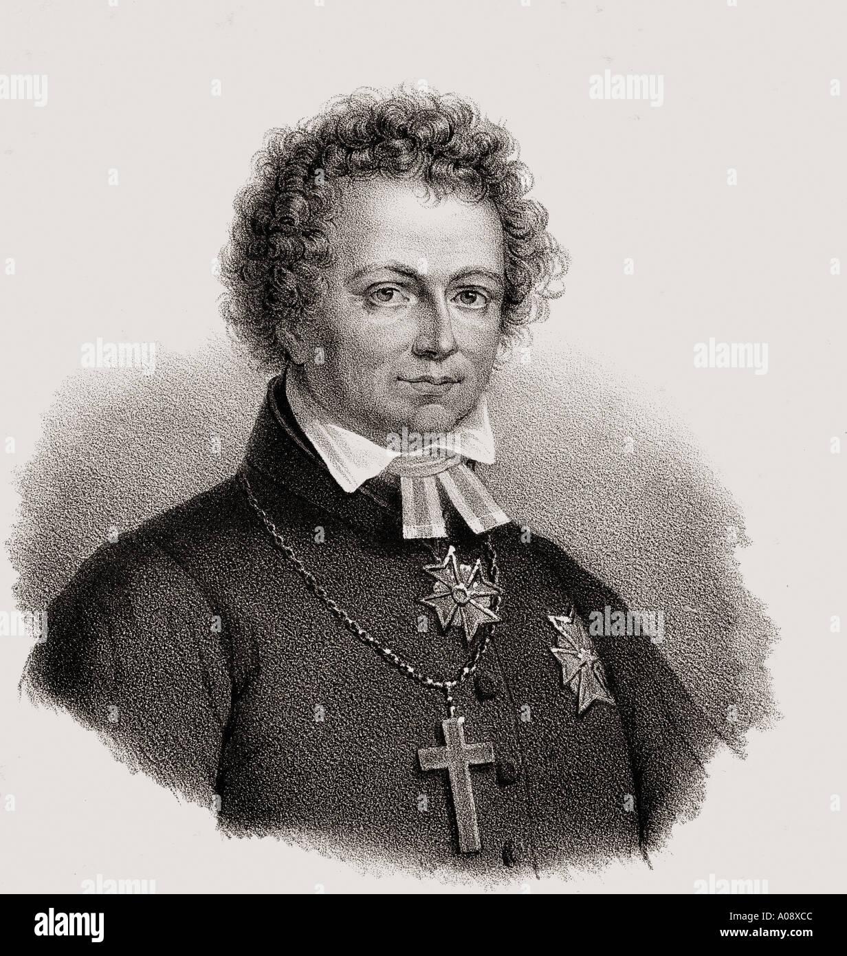 Esaias Tegner, 1782 - 1846.   Swedish writer, professor of Greek language, and bishop. - Stock Image