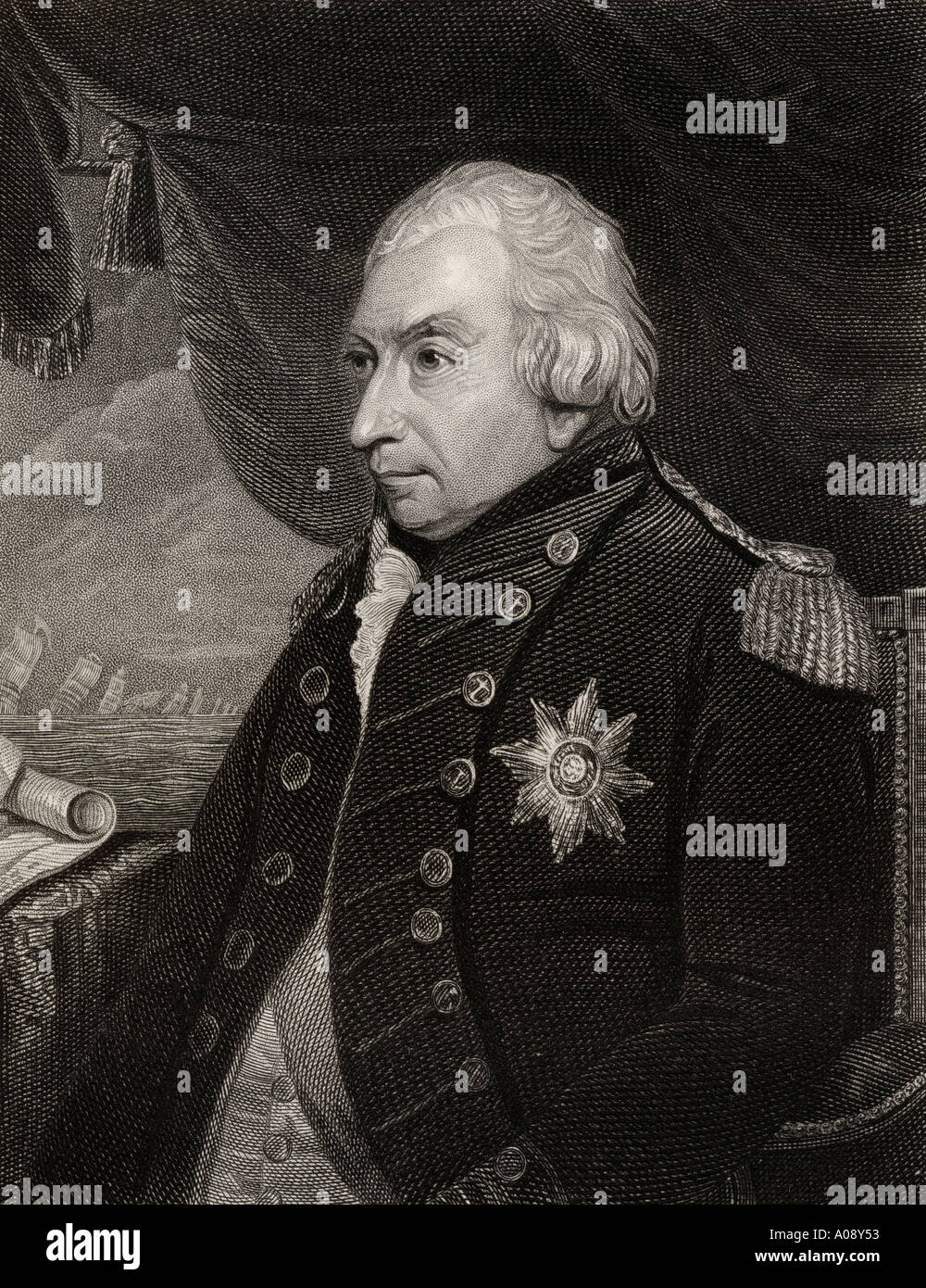 Admiral of the Fleet John Jervis, 1st Earl of St Vincent, 1735 - 1823.  Admiral in the British Royal Navy and a member of parliament. - Stock Image