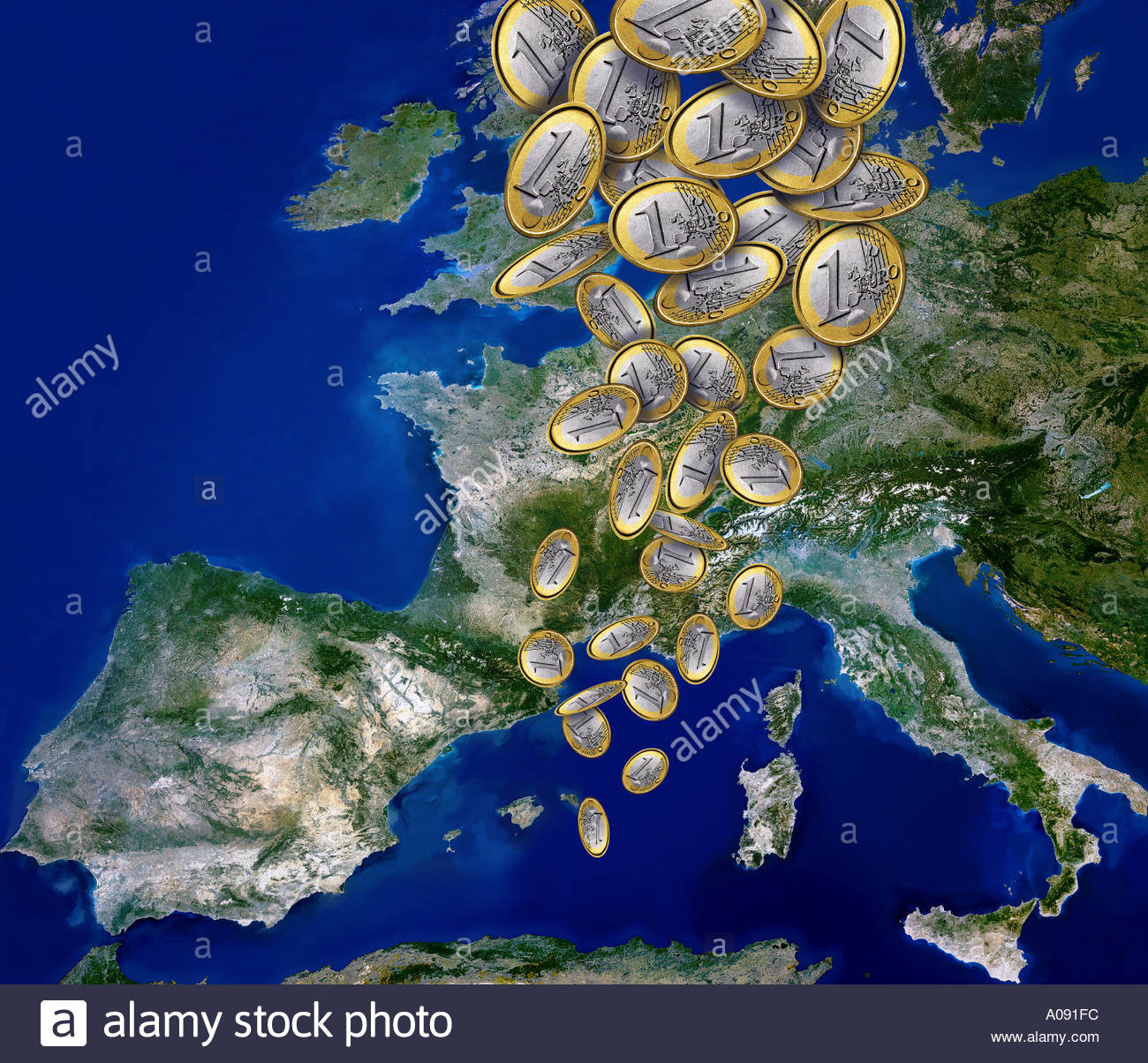 Euro coins falling on to satellite view of Europe - Stock Image