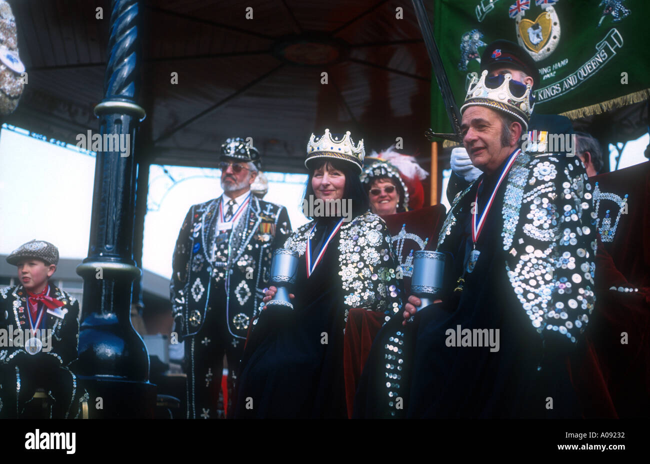 Coronation of London s Honourary Pearly King and Queen of Lancashire in Burnley England - Stock Image