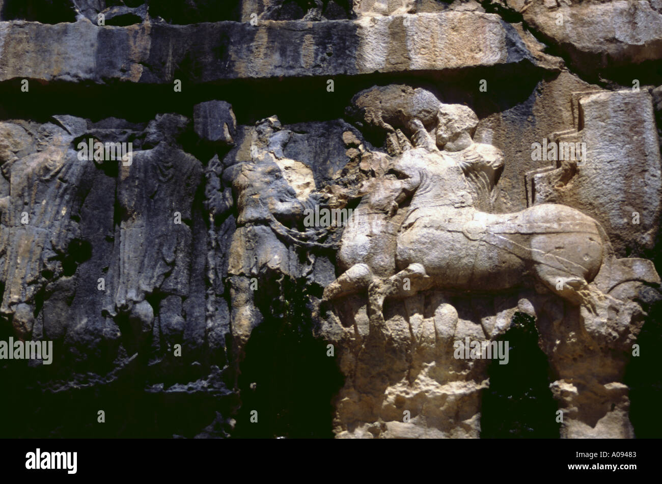Iran stone reliefs at the valley of Bishahpur - Stock Image