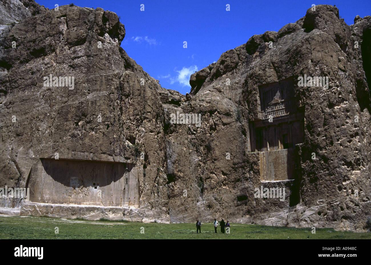 Iran Naqsh e Rostam tomb reliefs of the archaemenian king Xerxes I - Stock Image