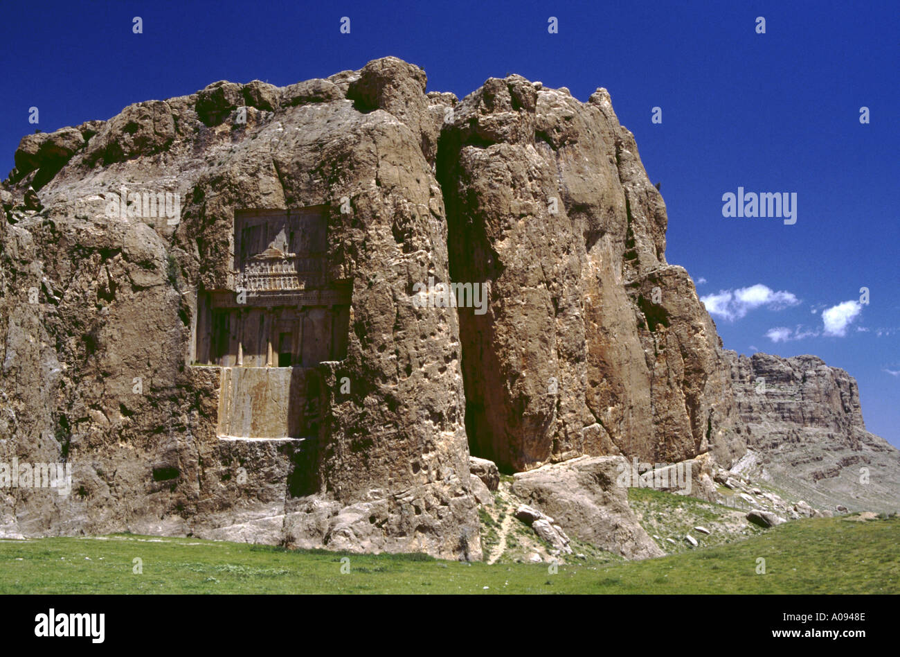 Iran Naqsh e Rostam stone reliefs at the tomb of the archaemenian king Xerxes I - Stock Image
