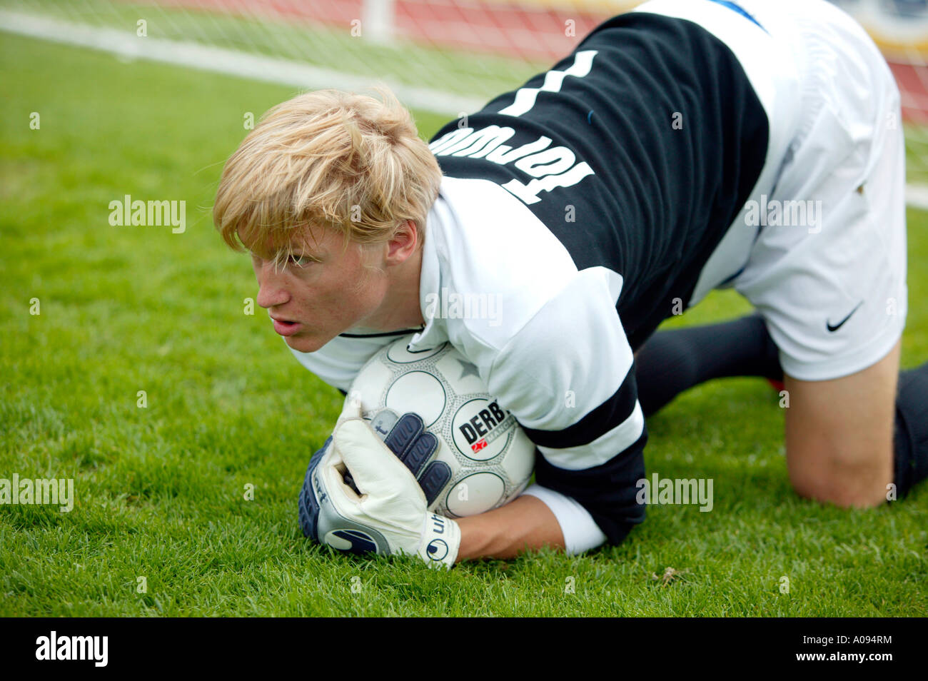 Fussballspieler Torwart, football player goalkeeper - Stock Image