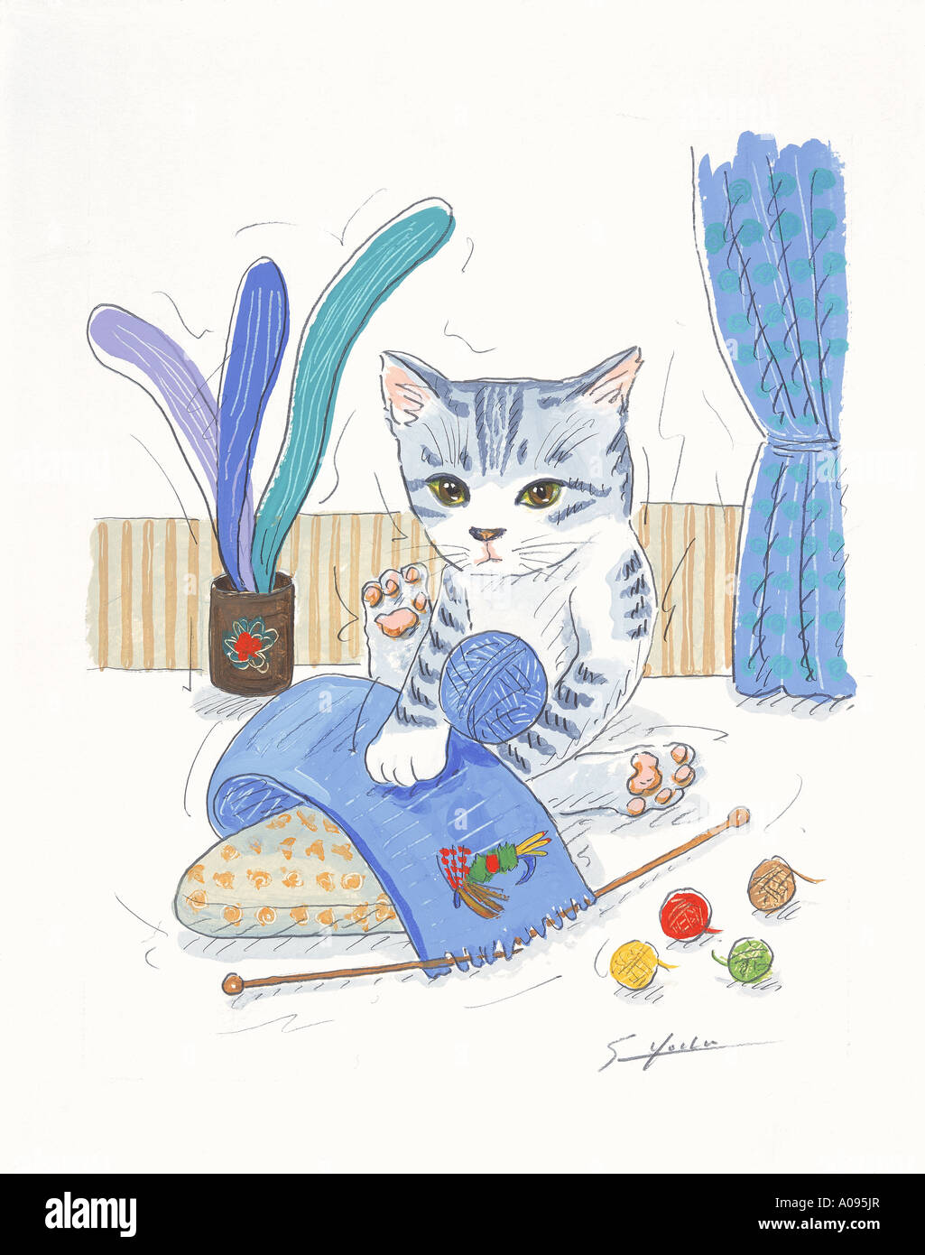 An illustration of a cat Stock Photo