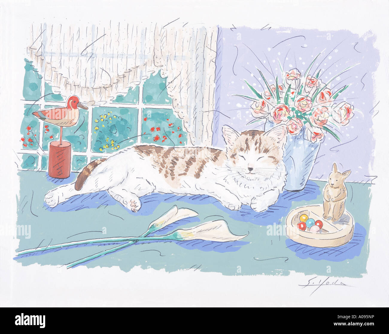 An illustration of a cat - Stock Image
