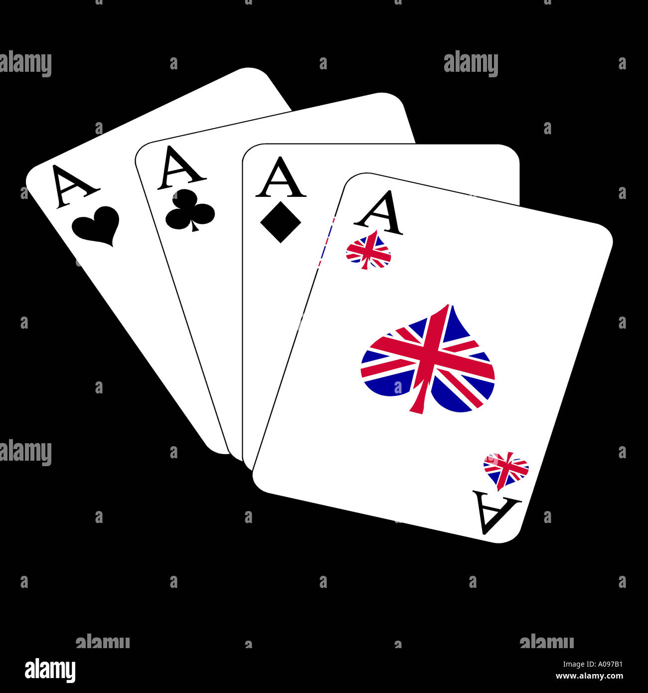 4 aces one signed with the flag of the United kingdom trumpcard winner card leading - Stock Image