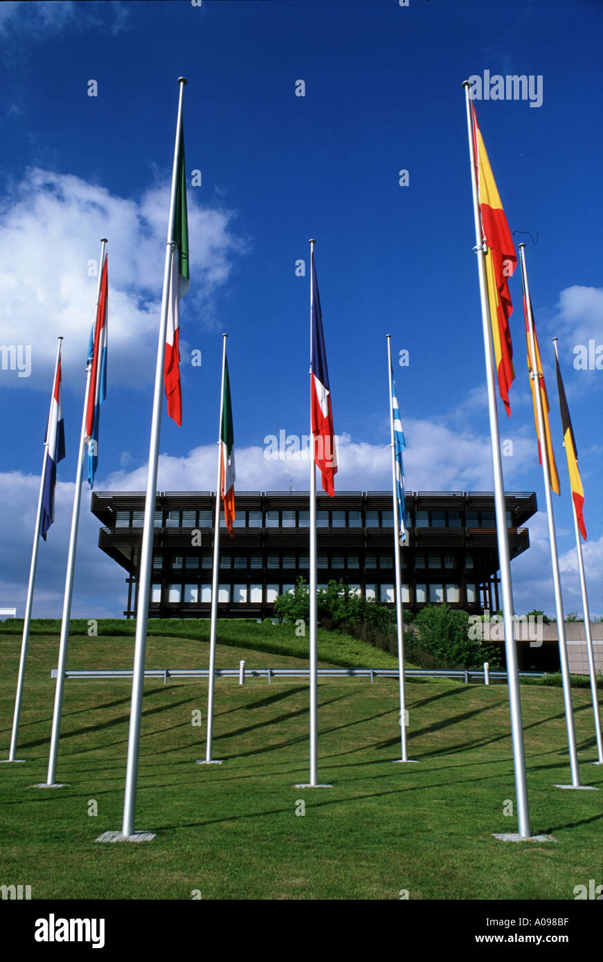 Flags of European countries in front of the old Building of the European Court of Justice in Luxembourg - Stock Image