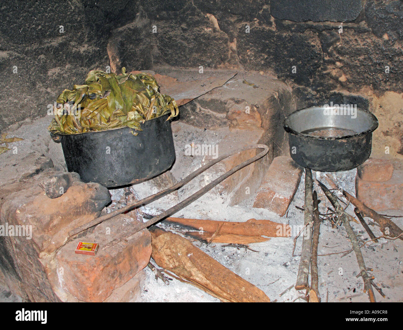 Cooking on firewood - Stock Image