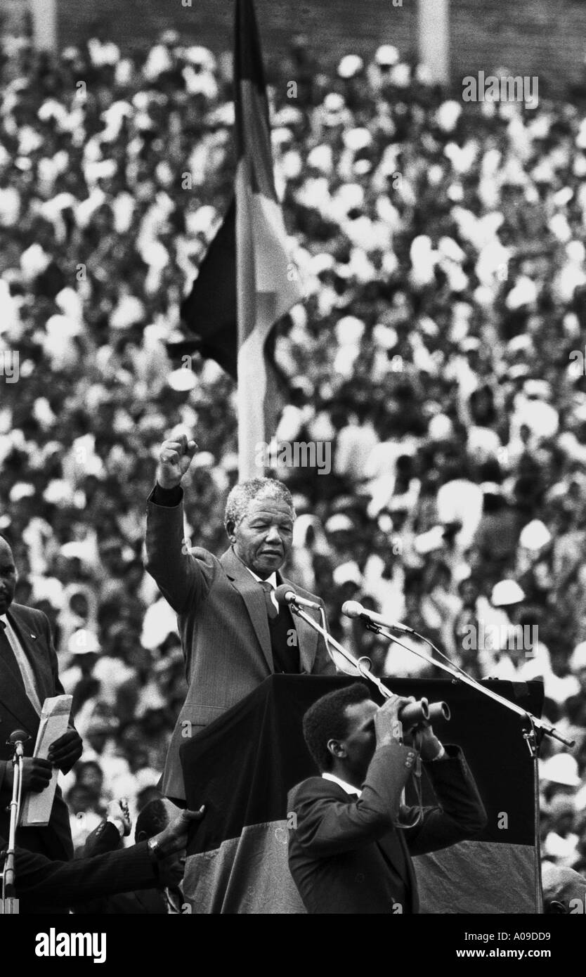 South Africa. Soweto. National Stadium. Nelson Mandela during a rally, shortly after his release from prison. - Stock Image