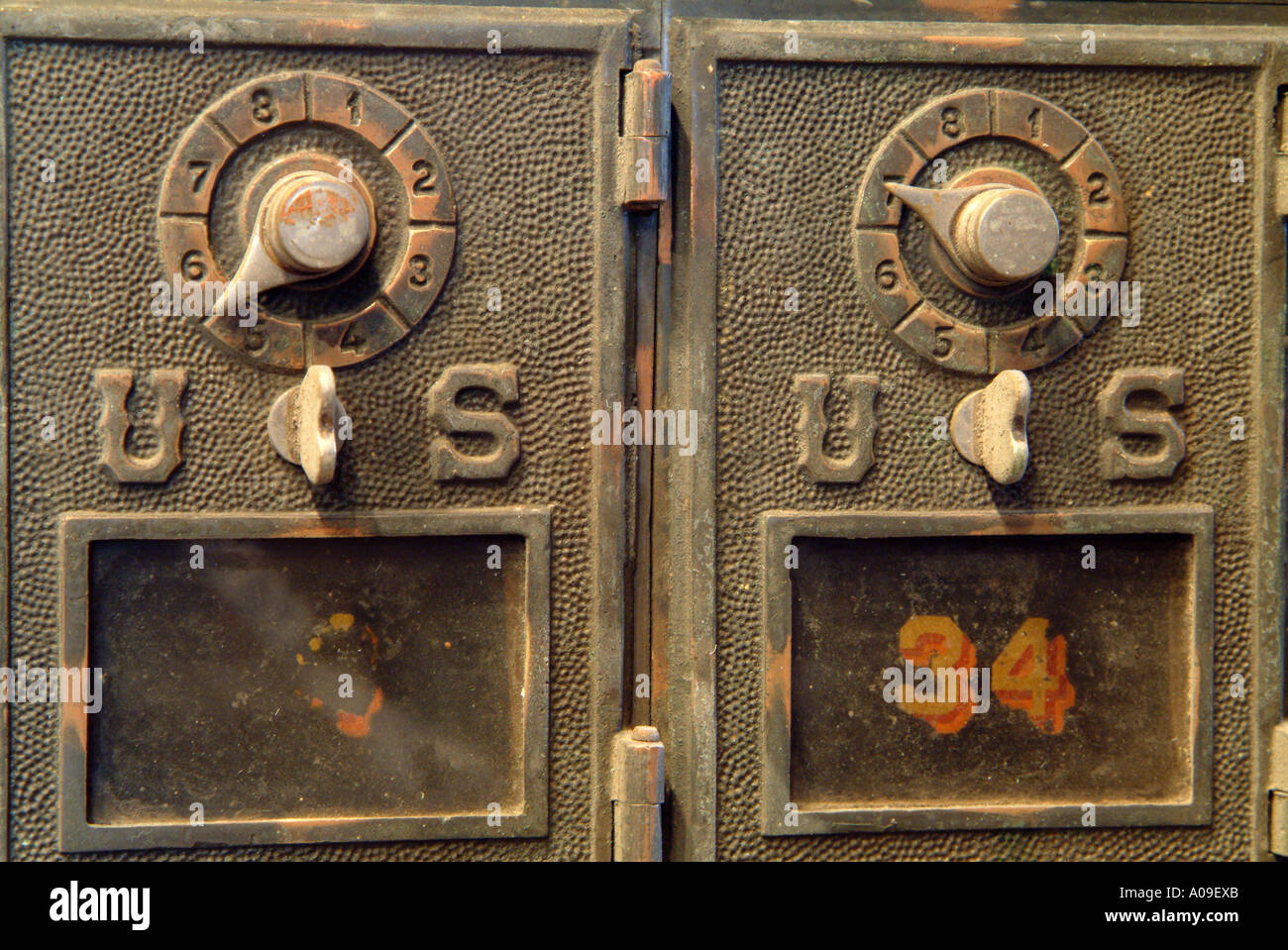 Old Antique Post Office Box With A Combination Lock
