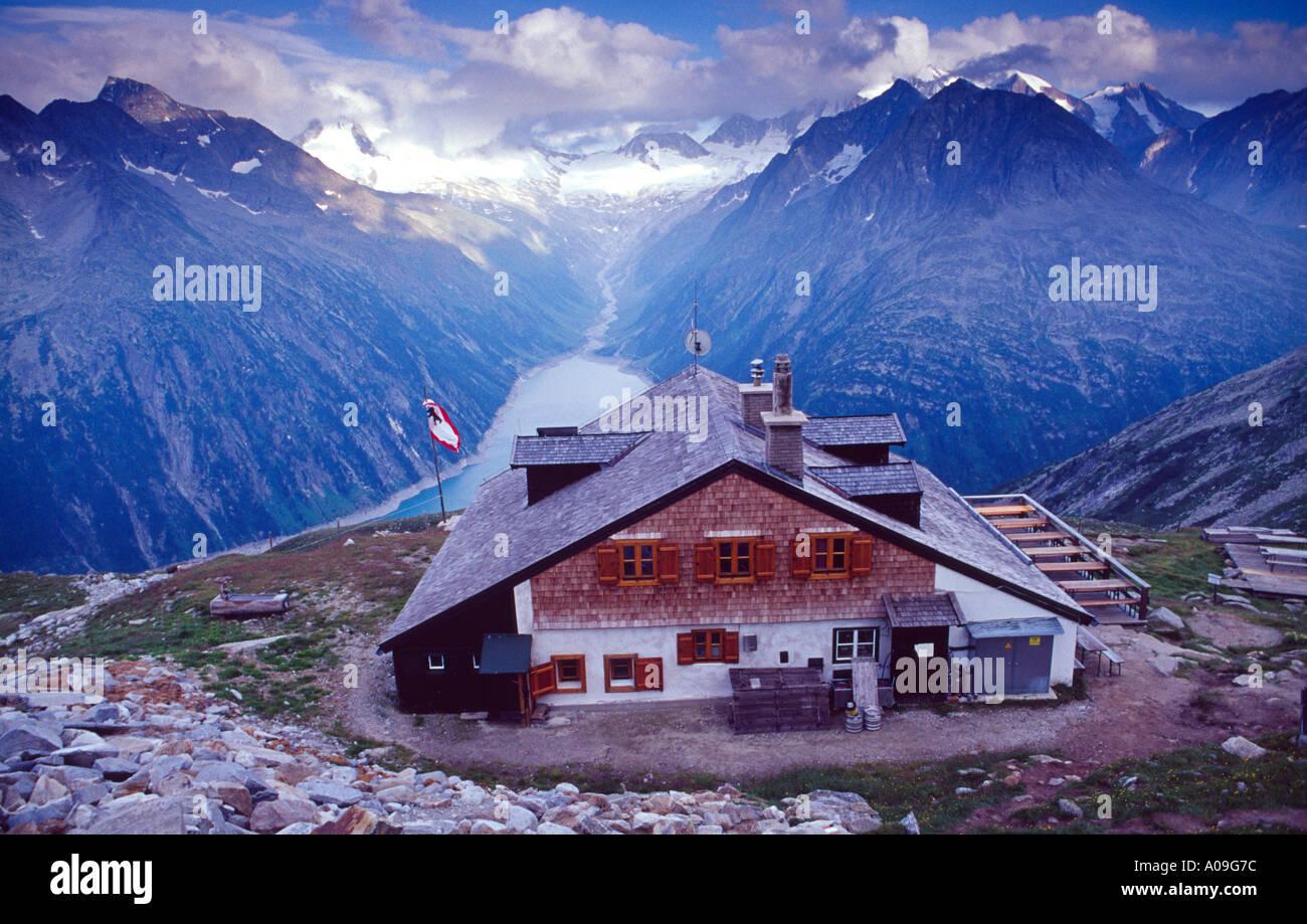 The Olperer Hut, Berliner Hohenweg, Zillertal Alps, Austria Stock Photo