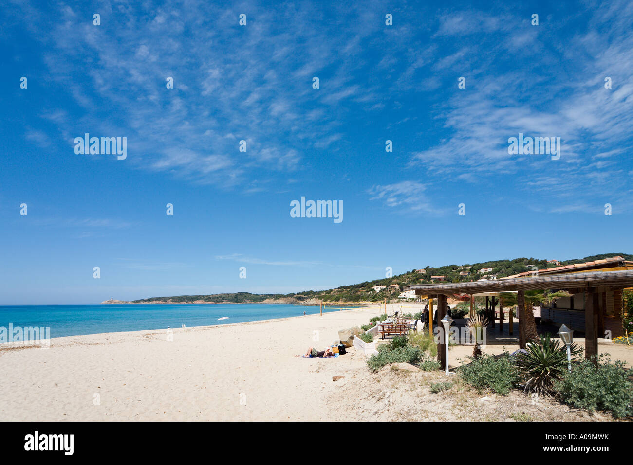 Beach bar and cafe, Cargese, Corsica, France - Stock Image