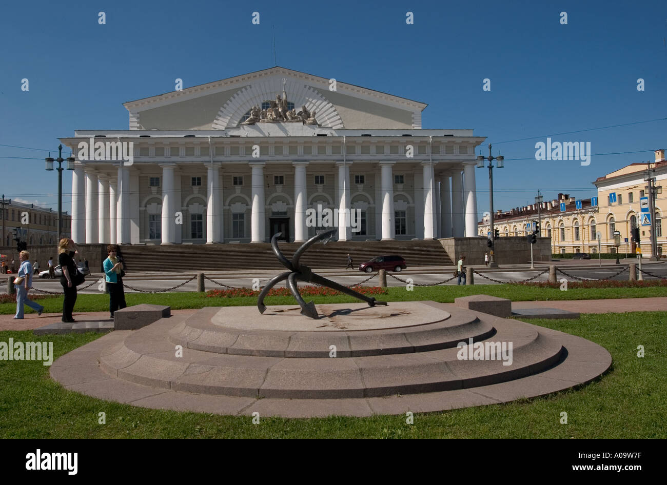 Naval Museum facade with anchor in foreground St Petersburg Russia Stock Photo