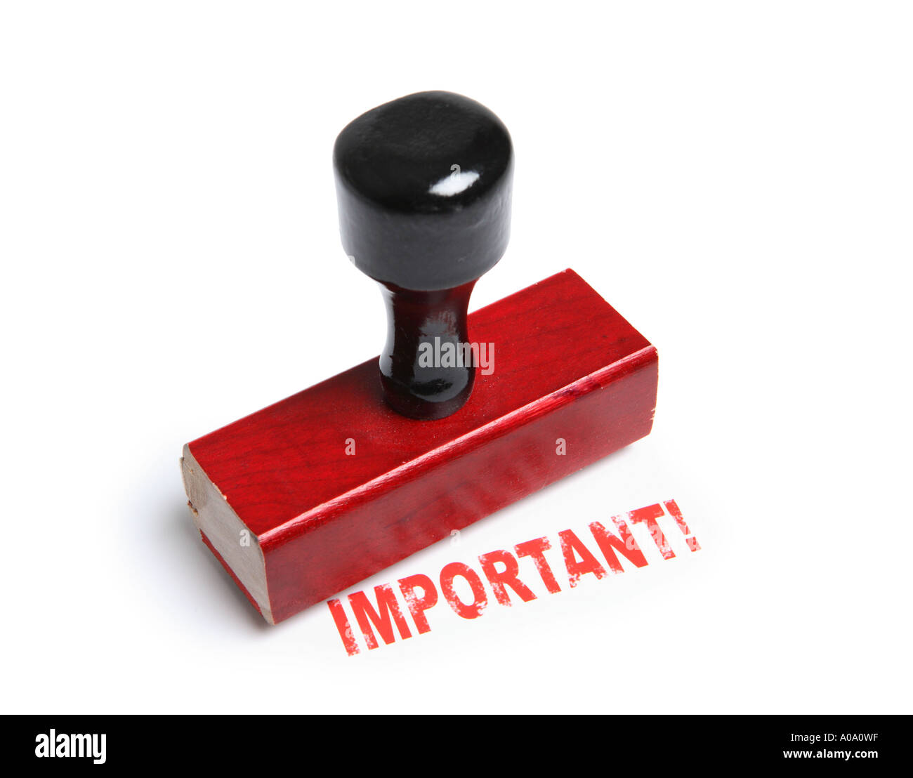 Important! rubber stamp - Stock Image