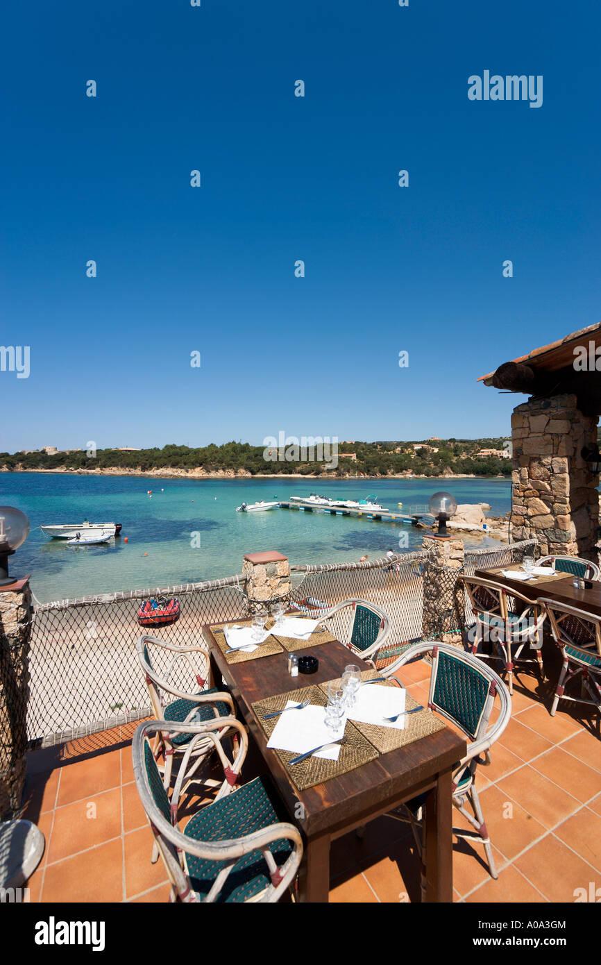Seafront restaurant in the resort centre, Tizzano, near Sartene, Corsica, France Stock Photo