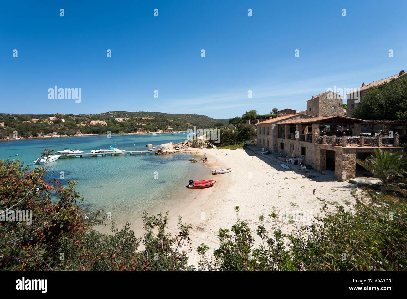 Beach and seafront restaurant in the resort centre, Tizzano, near Sartene, Corsica, France Stock Photo