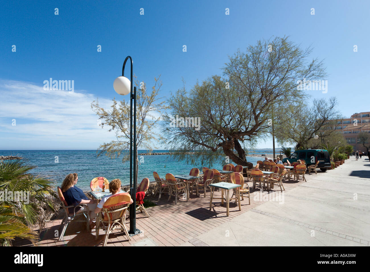 Seafront Cafe,  Cala Bona,  Mallorca, Balearic Islands. Spain - Stock Image