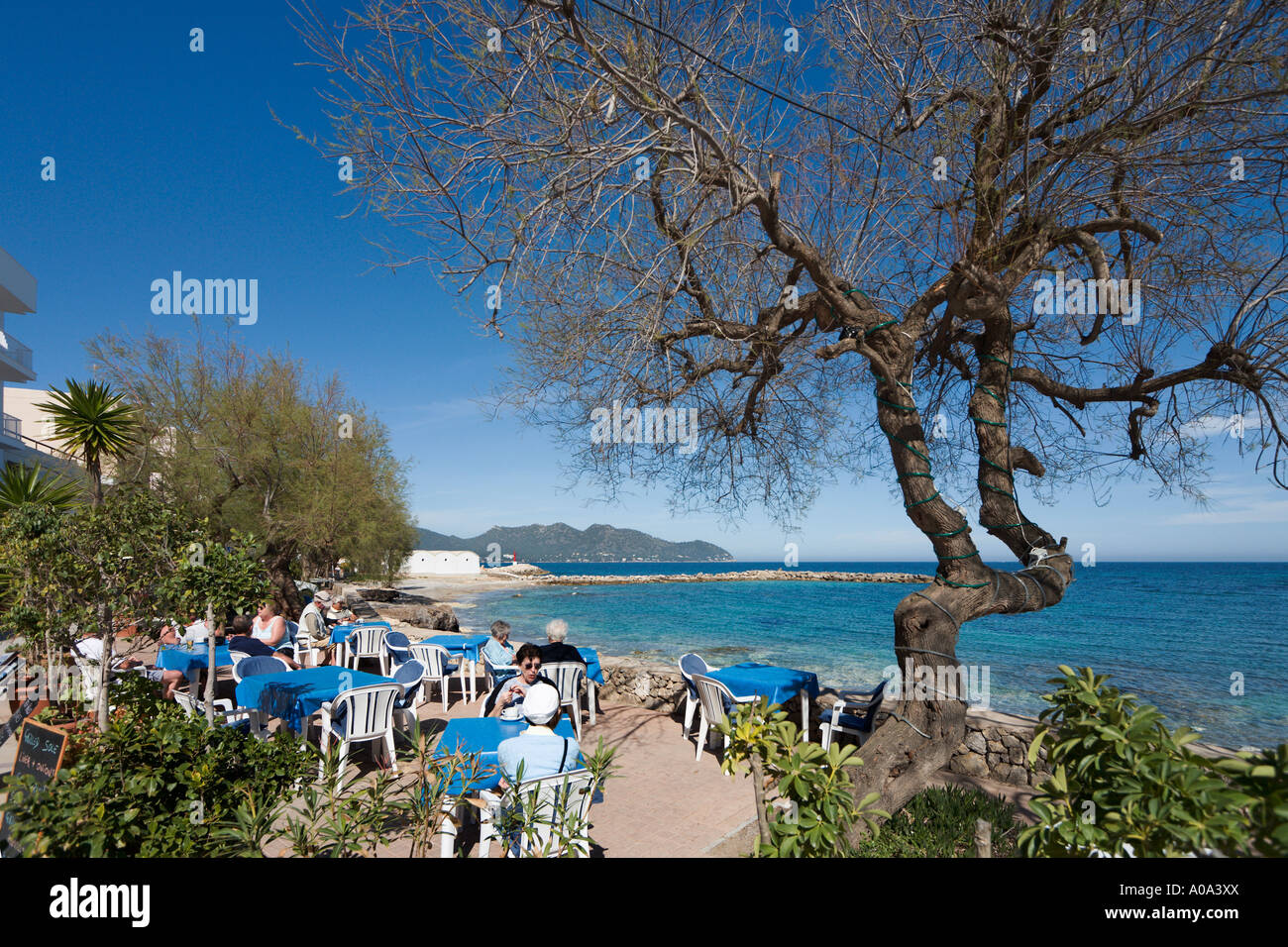 Seafront cafe in the winter season, Cala Bona, Mallorca, Balearic Islands, Spain - Stock Image