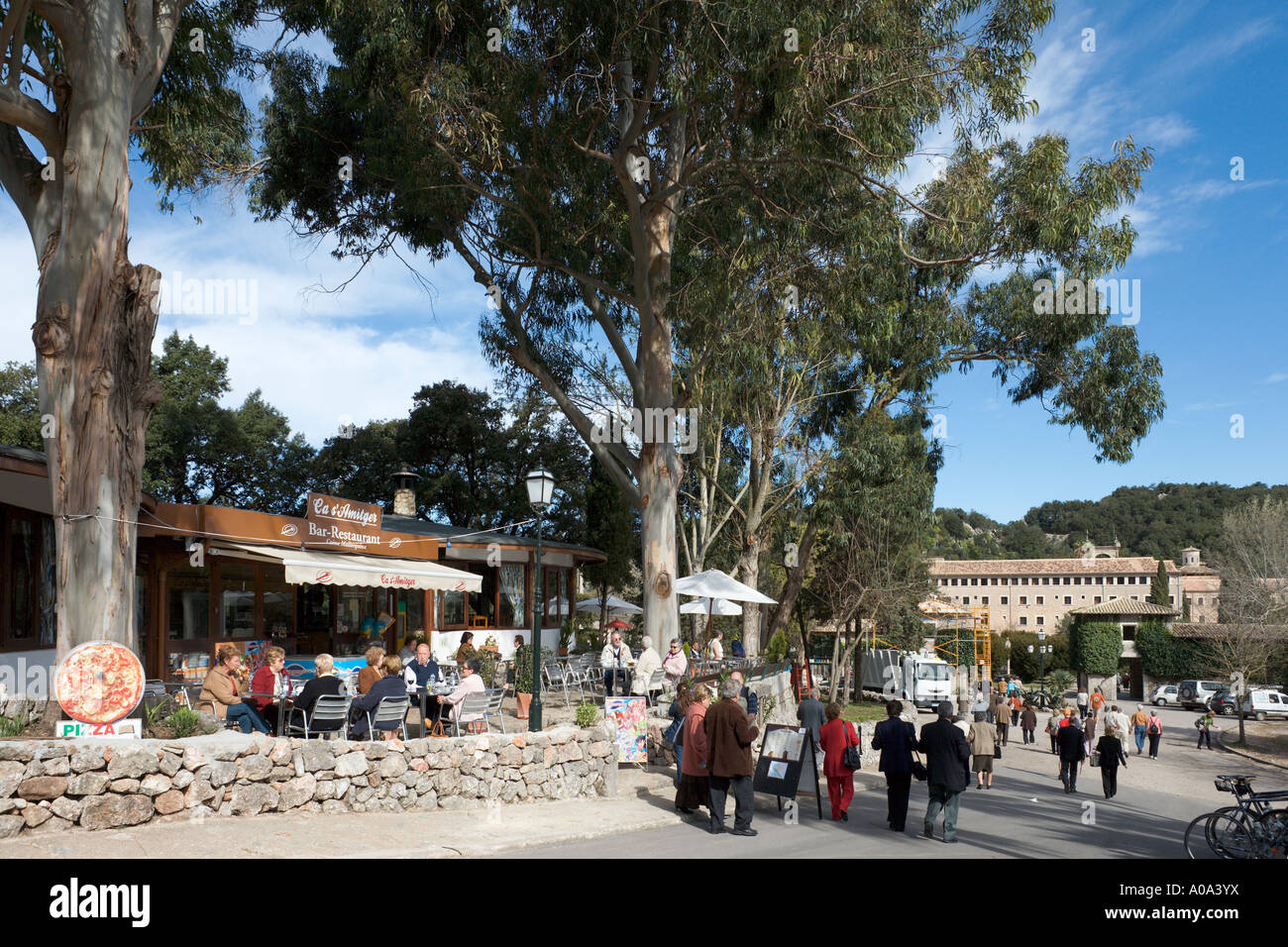 Restaurant at the Monastery of Lluc in the winter season, Mallorca, Balearic Islands, Spain - Stock Image