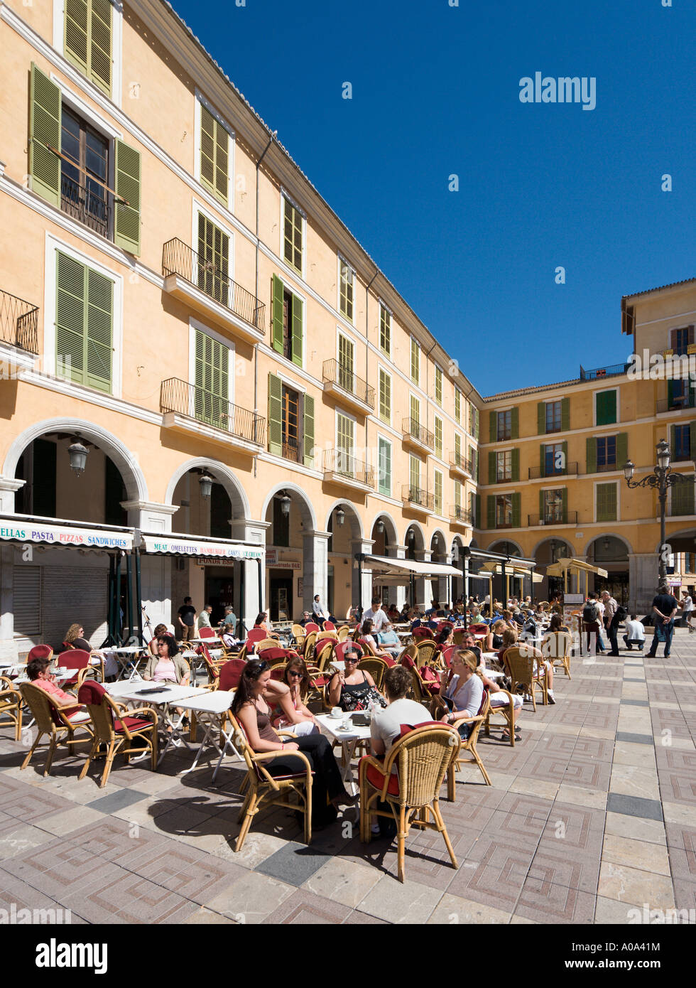 Restaurant in  Plaza Mayor (Placa Major), Palma, Mallorca, Balearic Islands, Spain - Stock Image