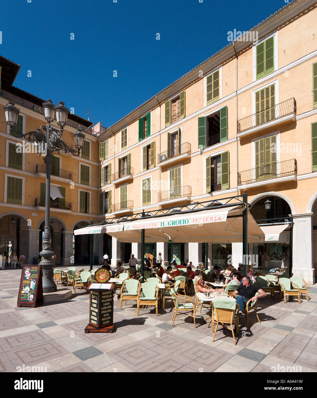 Street cafe in the Plaza Mayor (Placa Major) in the winter season, Palma, Mallorca, Balearic Islands, Spain - Stock Image