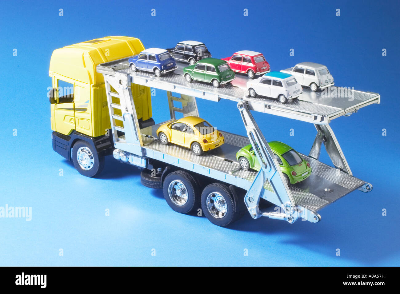 Toy Truck Carrying Miniature Cars Stock Photo 9930340 Alamy