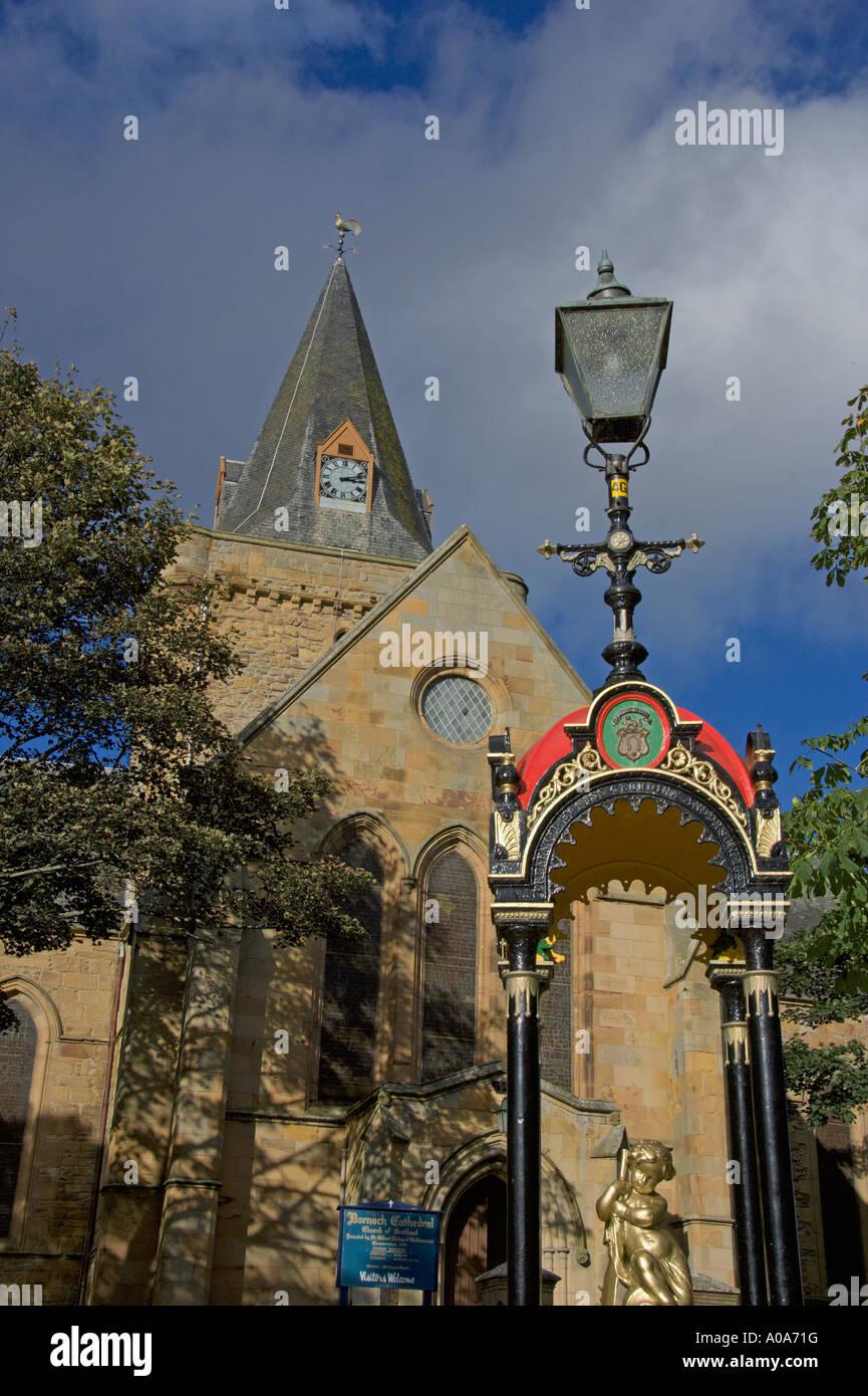 Dornoch Cathedral and Victorian Water fountain Dornoch Sutherland