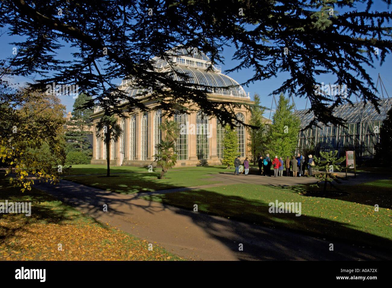 Palm House In Winter Sun Royal Botanic Garden Visitors On Guided Tour  Edinburgh Inverleith Autumn Colours