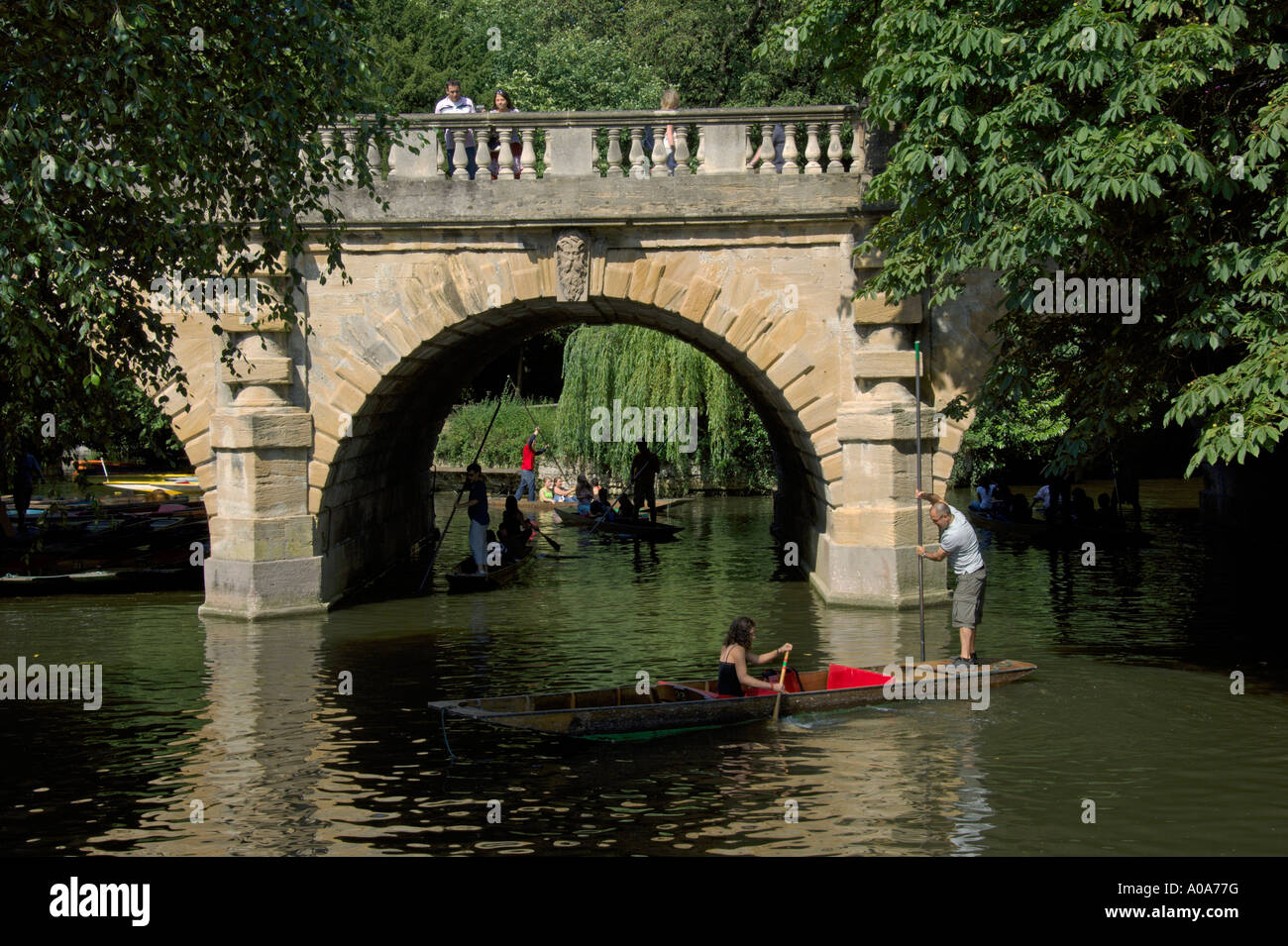 Punts On River Cherwell At Botanic Gardens Looking To Magdalen Bridge  Oxford University Oxford England