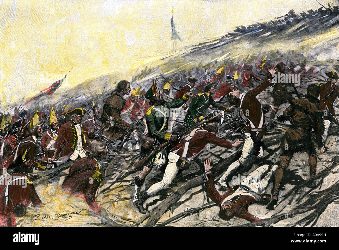 Jeffrey Amherst leading British troops taking Fort Ticonderoga in the French and Indian War 1759. Hand-colored halftone of an illustration - Stock Image