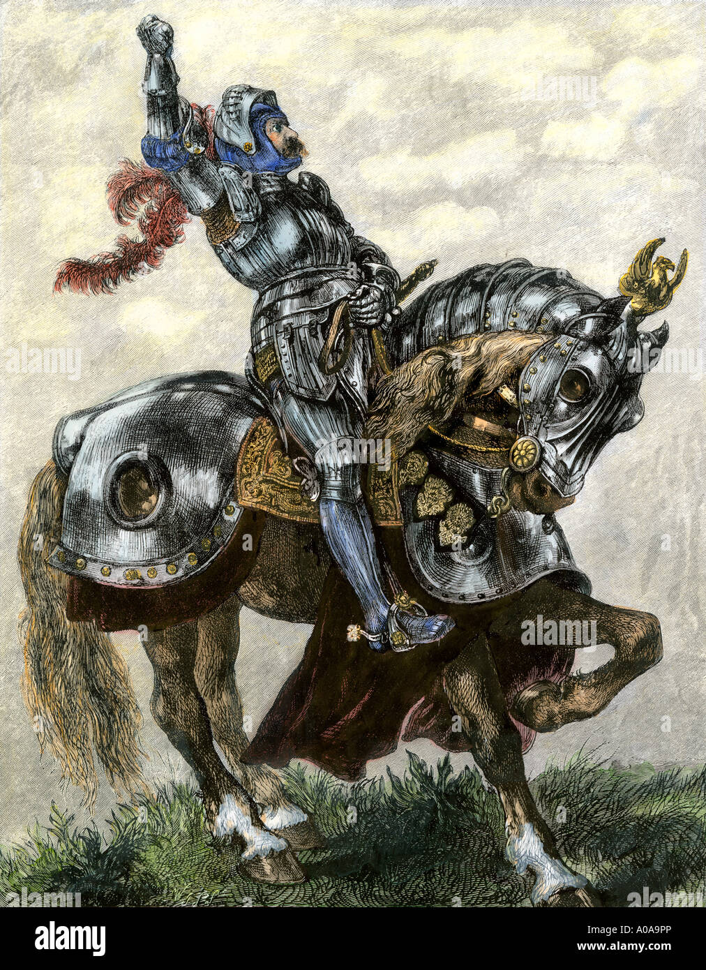 Knight shaking his fist defiantly. Hand-colored woodcut of a John Gilbert painting - Stock Image