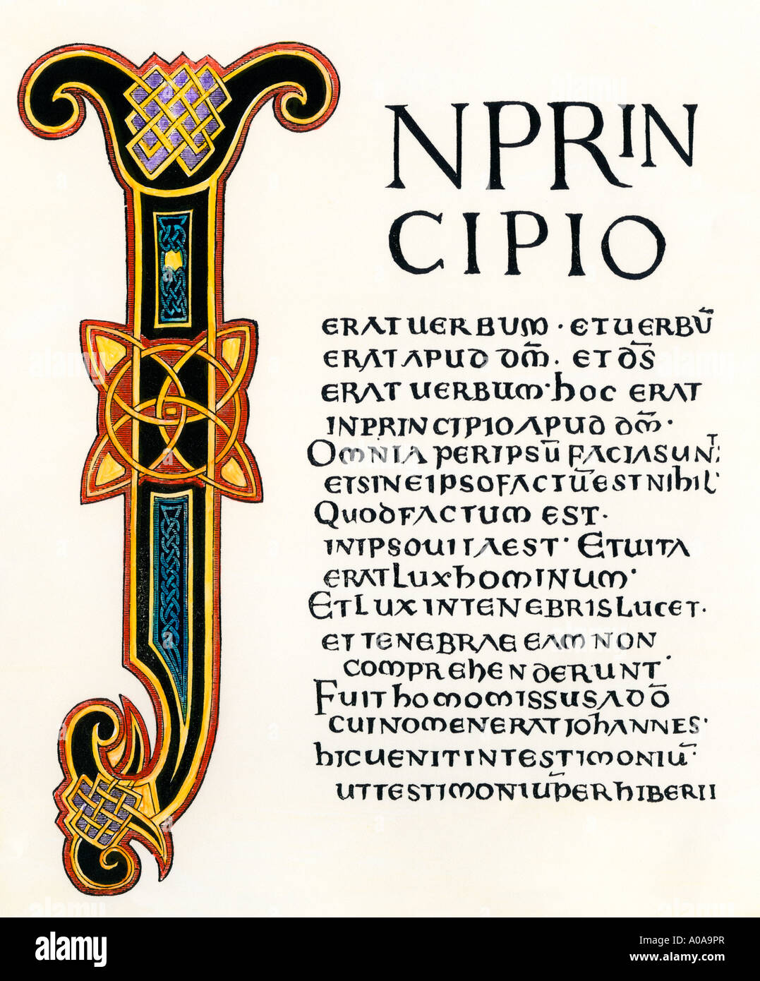 Page from the Latin Gospels given by King Aethelstane to the Church of Canterbury 900s AD - Stock Image