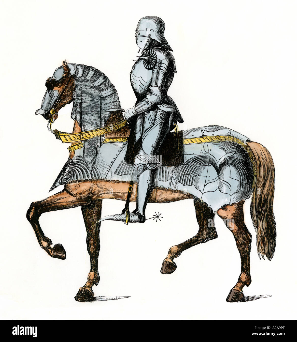 Knight armed and mounted ready for battle. Hand-colored woodcut - Stock Image